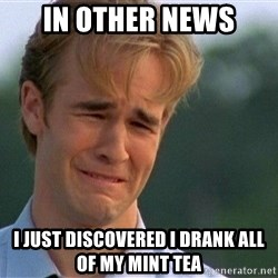 Dawson Crying - in other news i just discovered i drank all of my mint tea