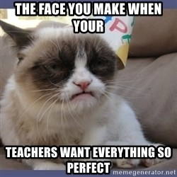 Birthday Grumpy Cat - the face you make when your  teachers want EVERYTHING so perfect