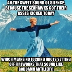 Sound Of Music Lady - ah the sweet sound of silence, because the seahawks got their asses kicked today  which means no fucking idiots setting off fireworks that sound like goddamn artillery!