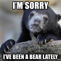 Confession Bear - I'm sorry I've been a bear lately