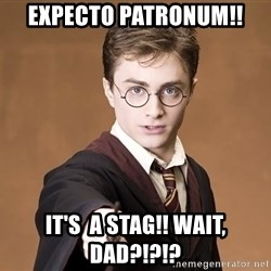 Advice Harry Potter - Expecto patronum!! It's  a stag!! Wait, dad?!?!?