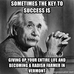 Albert Einstein - Sometimes the key to success is Giving up your entire life and becoming a radish farmer in vermont