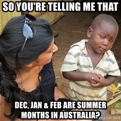 So You're Telling me - So you're telling me that  Dec, Jan & Feb are summer months in Australia?
