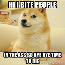 so doge - hi i bite people in the ass so bye bye time to die
