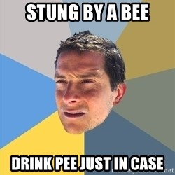 Bear Grylls - stung by a bee drink pee just in case