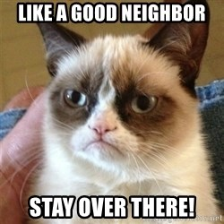 Grumpy Cat  - like a good neighbor stay over there!