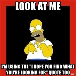 Homer retard - Look at me I'm using the ''I hope you find what you're looking for'' quote too