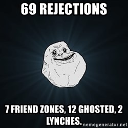 Forever Alone - 69 rejections 7 friend zones, 12 ghosted, 2 lynches.