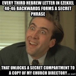 Nick Cage - EVERY THIRD HEBREW LETTER IN EZEKIEL 40-46 BACKWARDS FORMS A SECRET PHRASE  THAT UNLOCKS A SECRET COMPARTMENT TO A COPY OF MY CHURCH DIRECTORY