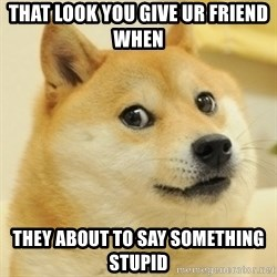 Dogeeeee - That look you give ur friend when They about to say something stupid