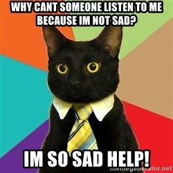 Business Cat - Why cant someone listen to me because im not sad? IM SO SAD HELP!