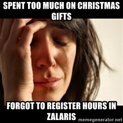 crying girl sad - SPENT TOO MUCH ON CHRISTMAS GIFTS FORGOT TO REGISTER HOURS IN ZALARIS