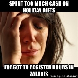 crying girl sad - SPENT TOO MUCH CASH ON HOLIDAY GIFTS FORGOT TO REGISTER HOURS IN ZALARIS