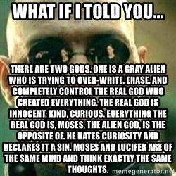 What If I Told You - What if I told you... There are two Gods. One is a Gray alien who is trying to over-write, erase, and completely control the real God who created everything. The real God is innocent, kind, curious. Everything the real God is, Moses, the alien God, is the opposite of. He hates curiosity and declares it a sin. Moses and lucifer are of the same mind and think exactly the same thoughts.