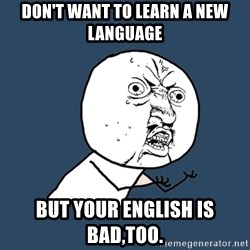 Y U No - Don't want to learn a new language But your English is bad,too.