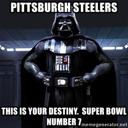 Darth Vader - Pittsburgh Steelers  This Is Your Destiny.  Super Bowl Number 7