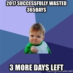Success Kid - 2017 Successfully wasted 365days 3 more days left
