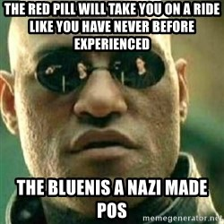 What If I Told You - The red pill will take you on a ride like you have never before experienced  The bluenis a Nazi made POS