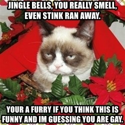 Grumpy Christmas Cat - jingle bells, you really smell, even stink ran away. your a furry if you think this is funny and im guessing you are gay.