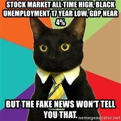 Business Cat - Stock market all time High, Black unemployment 17 year low, GDP near 4%  But the fake news won't tell you that.
