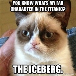 Grumpy Cat  - You know whats my fav character in The Titanic? The iceberg.
