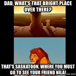 Lion King Shadowy Place - Dad, what's that bright place over there? that's saskatoon, where you must go to see your friend nila!