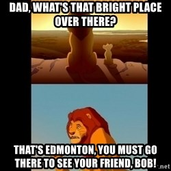 Lion King Shadowy Place - Dad, what's that bright place over there? that's edmonton, you must go there to see your friend, Bob!