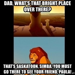 Lion King Shadowy Place - Dad, what's that bright place over there? that's saskatoon, simba, you must go there to see your friend, Paula!