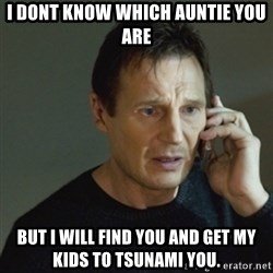 taken meme - I DONT KNOW WHICH AUNTIE YOU ARE BUT I WILL FIND YOU AND GET MY KIDS TO TSUNAMI YOU.