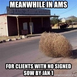 Tumbleweed - Meanwhile in AMS For clients with no signed SOW by Jan 1