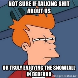 Futurama Fry - Not sure if talking shit about us Or truly enjoying the snowfall in Bedford