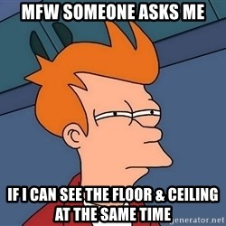 Futurama Fry - MFW someone asks me if i can see the floor & ceiling at the same time