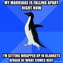Socially Awkward Penguin - My marriage is falling apart right now I'm sitting wrapped up in blankets afraid of what comes next
