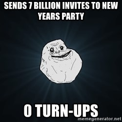 Forever Alone - Sends 7 billion invites to new years party 0 turn-ups