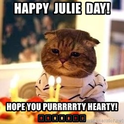 Birthday Cat - Happy  Julie  Day! Hope you purrrrrty hearty! 🎂🎰🎲🎉🎁🎆🎇