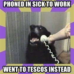 Yes, this is dog! - Phoned in sick to work  Went to Tescos instead