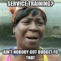 Ain't Nobody got time fo that - Service Training? Ain't nobody got budget fo that