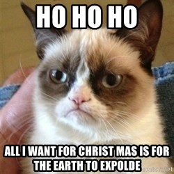 Grumpy Cat  - HO HO HO  ALL I WANT FOR CHRIST MAS IS FOR THE EARTH TO EXPOLDE