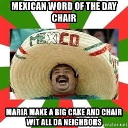 Sombrero Mexican - mexican word of the day chair maria make a big cake and chair wit all da neighbors