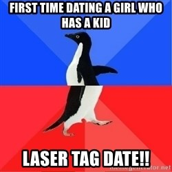 Socially Awkward to Awesome Penguin - first time dating a girl who has a kid laser tag date!!