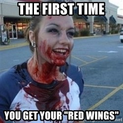 "Scary Nympho - the first time you get your ""red wings"""