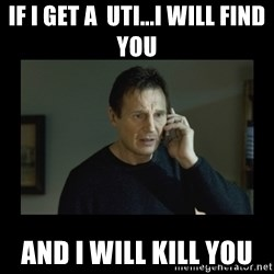 I will find you and kill you - If I get a  UTI...I will find you And I will kill you