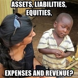 skeptical black kid - assets, liabilities, equities, expenses and revenue?