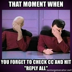 "Double Facepalm - that moment when you forget to check cc and hit ""reply all"""