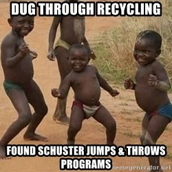 Dancing African Kid - Dug through recycling Found Schuster jumps & throws programs