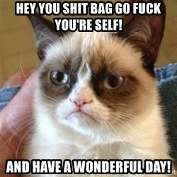 Grumpy Cat  - hey you shit bag go fuck you're self! AND HAVE A WONDERFUL DAY!
