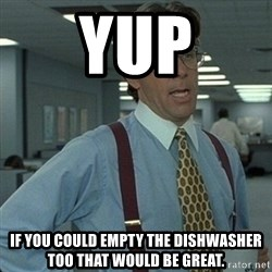 Yeah that'd be great... - Yup If you could empty the dishwasher too that would be great.