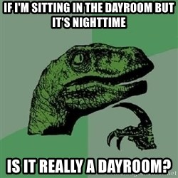Philosoraptor - If I'm sitting in the dayroom BUT it's nighttime Is it REALLY a dayroom?