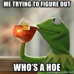 Kermit The Frog Drinking Tea - Me trying to figure out  Who's a hoe