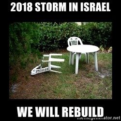 Lawn Chair Blown Over - 2018 Storm in Israel We will rebuild